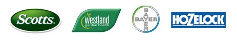 Scotts, Westland, Bayer, Hozelock brand logos